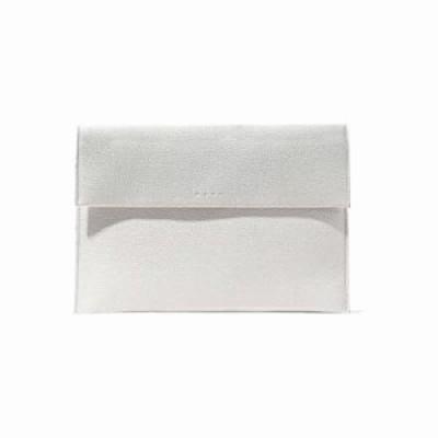 マルニ クラッチバッグ Textured-leather clutch Off-white