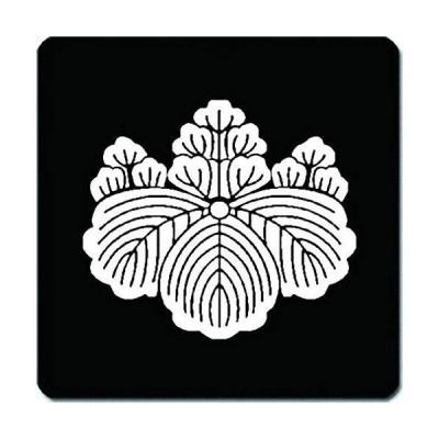 家紋 捺印マット 上田桐紋 11cm x 11cm KN11-1921W 白紋