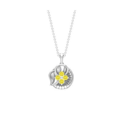 Lab Created Yellow Sapphire Necklace, 1/3 CT Round Shaped 2.80 MM Gemstone, Gold Floral Jewelry, Designer Chain Pendant, Valentines Gift For