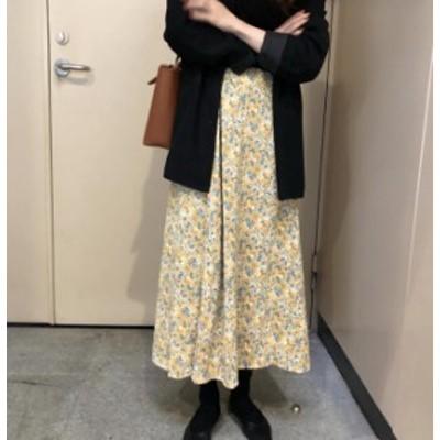 韓国 ファッション レディース スカート 花柄 フレア ロング ハイウエスト Aライン ゆったり 大人可愛い レトロ フェミニン 春夏