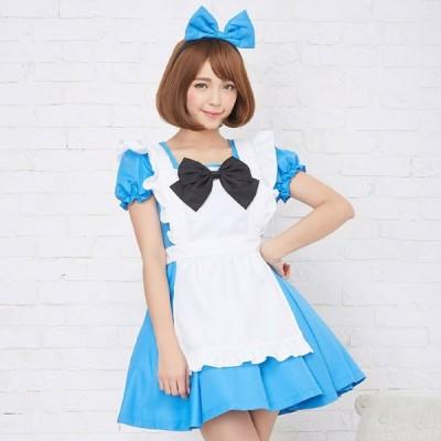 コスプレ コスプレ コスチューム一式 4点セット 10色展開  メイド ロリータ 衣装