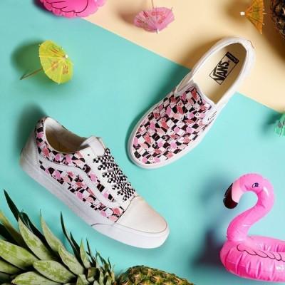 バンズ VANS Customs Checkerboard Flamingos Old skool オールドスクール ピンク チェッカー柄 フラミンゴ カスタム ユニセックス メンズ レディース 取り寄せ
