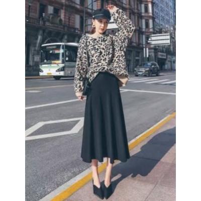 秋新作 スカート マキシスカート とろみ フレア 大きいサイズ Aライン レディース ボトムス A972