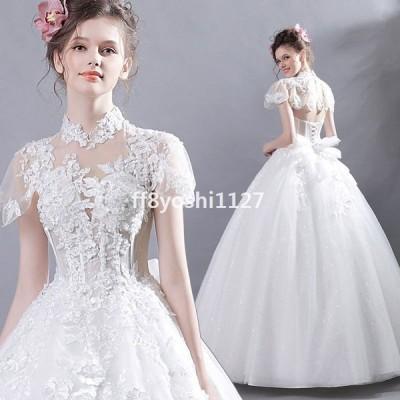 ウエディングドレスレディースプリンセスドレス花嫁ドレス上品なブライダル半袖ロングドレスオシャレ演奏会ウエディング素敵な写真撮影ドレス