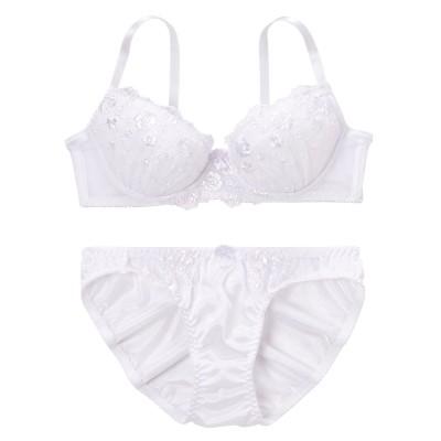 【大きい胸専用】シンプルレースブラジャー・ショーツセット(F80/L) 【大きい胸専用】【グラマー】ワイヤー入りブラジャー&ショーツセット, Bras & Panties