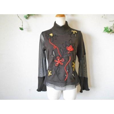 ロイヤル アスコット ROYAL ASCOT -II ニット × チュール 切替 刺繍 入り セーター 1