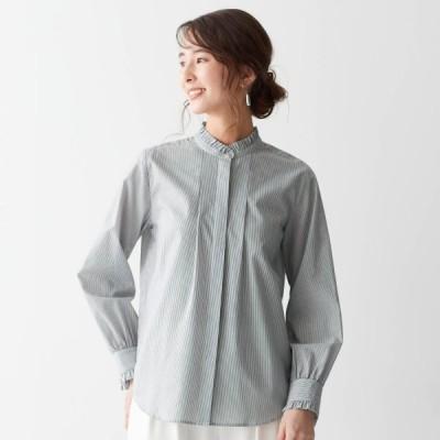 着心地柔らかプチフリルスタンドカラーシャツ グレー系 S M L LL