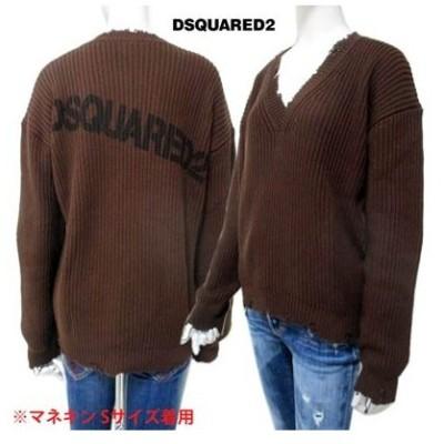 ディースクエアード DSQUARED2 レディース トップス ニット セーター ロゴ ネック/裾/袖口クラッシュ・DSQUARED2ロゴ付Vネックニット (R84700) 02S