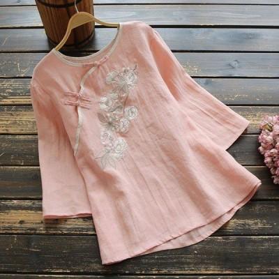 花柄 刺繍 斜襟 シャツ ブラウス 森ガール レディース 夏 七分袖 丸首