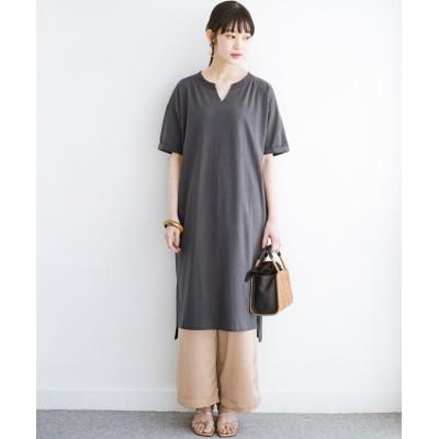 (haco!/ハコ)キーネックがさり気なく女っぽい 重ね着にも便利なビッグTシャツワンピース/レディース チャコールグレー