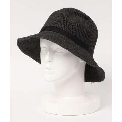 帽子 ハット 細編みメタルチップリボンハット