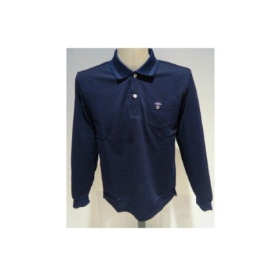 CAPRI /春夏/20新/50%OFF/ドッド 長袖ポロシャツ/52(3L) 別注サイズ/ネイビー/日本製/綿混素材/現品限り/信頼の日本製ギフトに最適