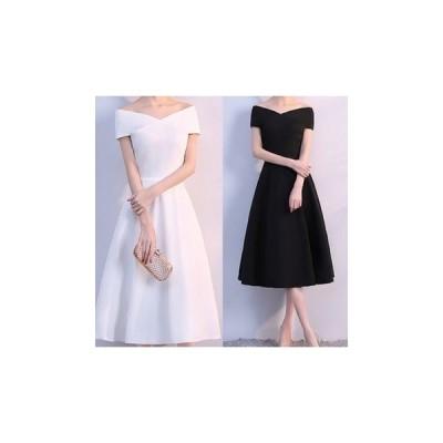 ドレス オフショルダー 上品 フレア ミモレ丈 大人 結婚式 fe-0205
