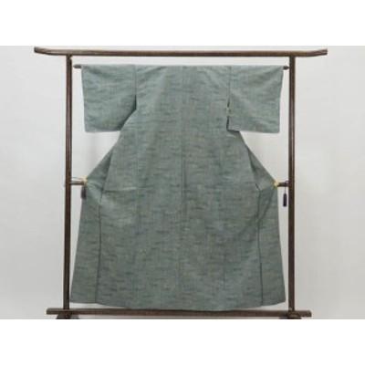 【中古】リサイクル紬 / 正絹先染グリーン地袷紬着物(古着 中古 紬 リサイクル品)