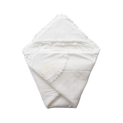 日本製 ふかふかパイル地 クマさん刺繍入りベビーアフガン おくるみ 年中OK素材 (ホワイト 85×85センチ)
