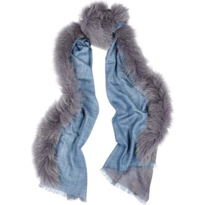 AMA ピュア AMA Pure レディース マフラー・スカーフ・ストール blue fur-trimmed wool scarf Blue