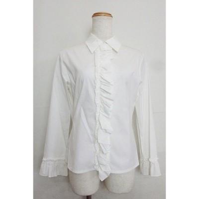 rue blanche リュブランシュ  フリル ストレッチシャツ  2 ホワイト