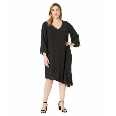 アドリアナ パペル ワンピース トップス レディース Plus Size Gauzy Crepe Flared Sleeve Dress Black