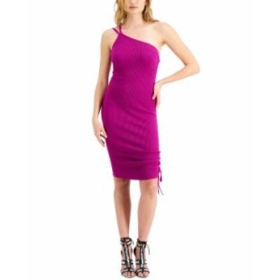 ゲス レディース ワンピース トップス Annika Asymmetrical Ribbed Dress Dark Pink