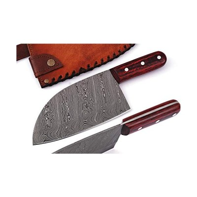 BK-1056 Custom Handmade Damascus Kitchen Chopper/Cleaver Knife Twist Pattern-1-Piece/With Genuine Leather Sheath By Master Blade