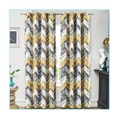 新品DriftAway Herringbone Geometric Stripe Printed Pattern Energy Saving Thermal Insulated Blackout Window Curtain Grommet 2 Layers 2 Pane
