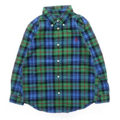 古着 ポロラルフローレン ワンポイント ロゴ キッズ チェック ボタンダウンシャツ サイズ表記:7