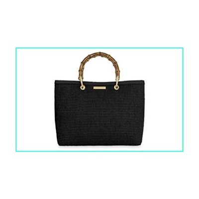 【新品】Katie Loxton Callie Womens Bamboo and Straw Top Handle Handbag Tote Black(並行輸入品)