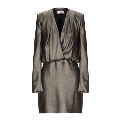 SAINT LAURENT ミニワンピース&ドレス ブロンズ 36 シルク 100% ミニワンピース&ドレス