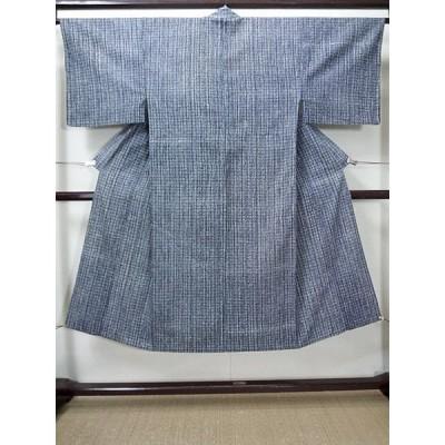 G0512S ゆかた 男性用着物  綿   藍, 幾何学模様 【中古】 【USED】 【リサイクル】 ★★☆☆☆