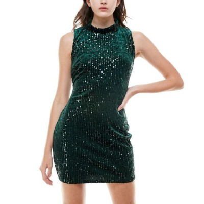 エメラルドサンデー レディース ワンピース トップス Juniors' Velvet & Sequin Bodycon Dress