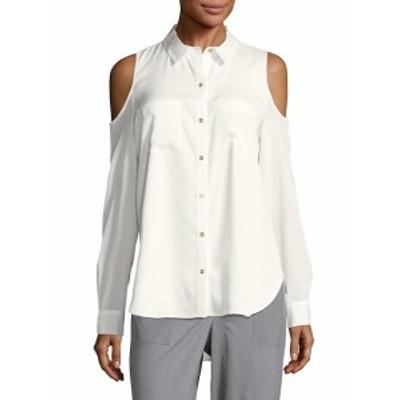 カルバンクライン レディース トップス シャツ Solid Cold-Shoulder Casual Button-Down Shirt