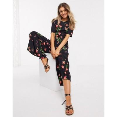 エイソス レディース ワンピース トップス ASOS DESIGN tea jumpsuit with button back detail in floral print