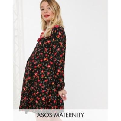 エイソス レディース ワンピース トップス ASOS DESIGN Maternity shirt smock dress in mixed print Mixed floral print