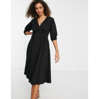 エイソス レディース ワンピース トップス ASOS DESIGN wrap front midi dress with trim at neckline in black Black