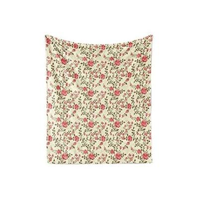 (新品)  Ambesonne Rose Soft Flannel Fleece Throw Blanket, Rustic Pattern with Flora