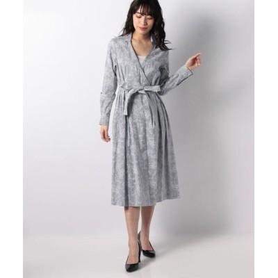 LAPINE BLANCHE/ラピーヌ ブランシュ ストライプ×更紗プリントカシュクールシャツドレス ネイビー 40