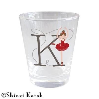 送料無料 1500円 Shinzi Katoh バレリーナ イニシャルグラス K ARK-1471-K