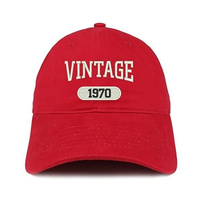 Trendy Apparel Shop Vintage 1970 Embroidered 51st Birthday Relaxed Fitting Cotton Cap - Red