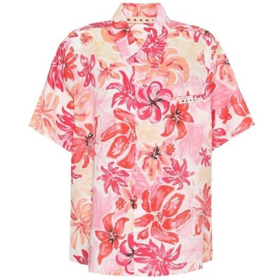 マルニ Marni レディース ブラウス・シャツ トップス Floral ramie shirt Pink Clematis