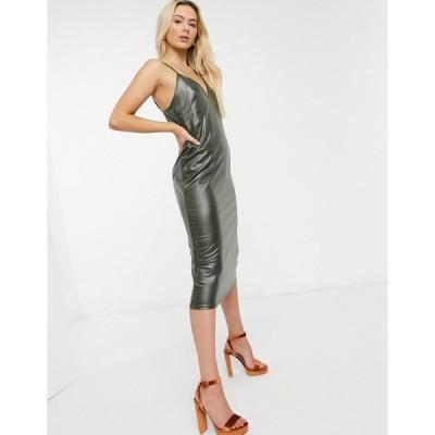エイソス ミディドレス レディース ASOS DESIGN strappy leather look midi slip dress in khaki エイソス ASOS カーキ