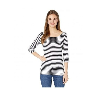 Majestic Filatures レディース 女性用 ファッション Tシャツ Soft Touch Stripe 3/4 Sleeve Marrow Boat Neck Top - Milk/Marine