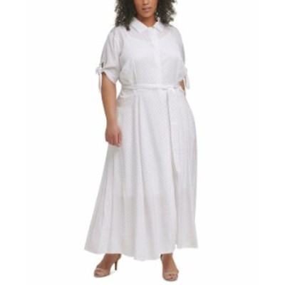 カルバンクライン レディース ワンピース トップス Plus Size Dot-Print Belted Jacquard Shirtdress White