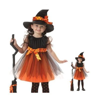 ベビー キッズ 子供服 女の子 ドレス ハロウィン 仮装 コスプレ ブラック&オレンジドレスコスチューム