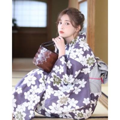 浴衣 レディース浴衣 2点セット(浴衣/帯) 紫 パープル 白 ホワイト グレー 椿 花柄