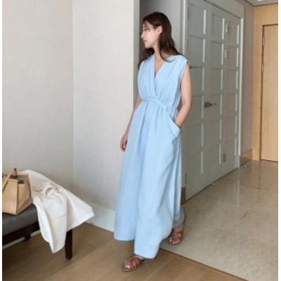 韓国 ファッション レディース ワンピース ロング マキシ丈 ノースリーブ Vネック ハイウエスト リゾート きれいめ 大人可愛い カジュア
