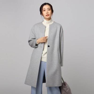 アンタイトル UNTITLED メイユールカシミヤノーカラーコート (ライトグレー)