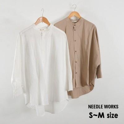 メール便可 ニードルワークス 2121704A-mMm Big Shirt/ビッグシャツ レディース 無地 ノーカラーシャツ シンプル NEEDLE WORKS 2002740