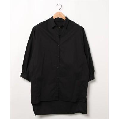 シャツ ブラウス バックフリルロングシャツ