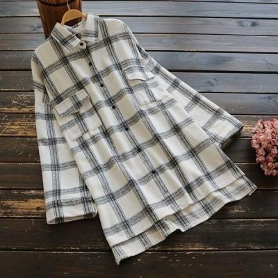シャツ ブラウス 大きいサイズ 秋冬 チェック柄 ロング丈 長袖 トップス レディースj63636