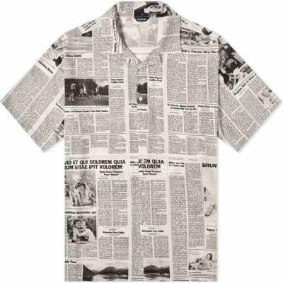 バレンシアガ Balenciaga メンズ 半袖シャツ トップス short sleeve newspaper print shirt White/Black